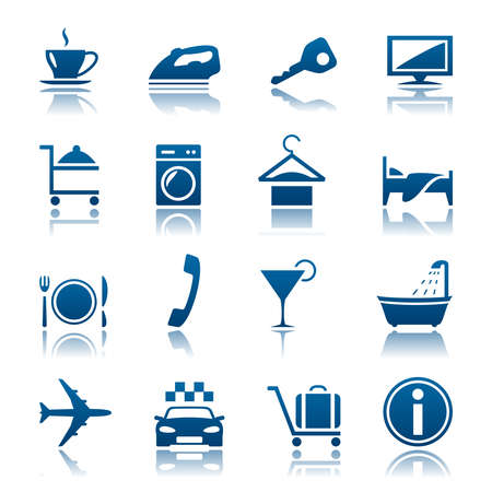 auto washing: Hotel and vacations icon set