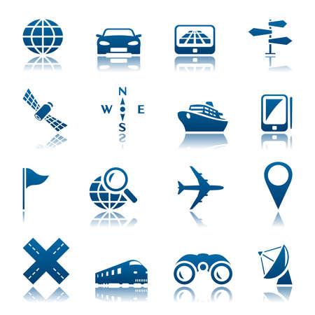 Navigation and transport icon set  イラスト・ベクター素材