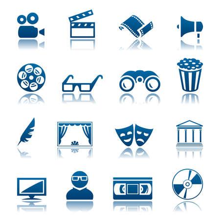 videocassette: Cine y teatro icono conjunto Vectores