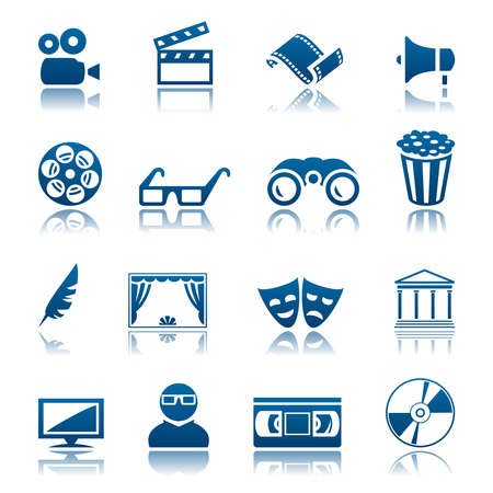 movie theater: Cinema and theatre icon set Illustration