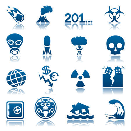 gas mask danger sign: Apocalyptic and natural disasters icon set