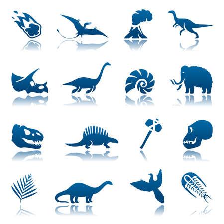 Prehistorische icon set Stock Illustratie