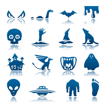 mysterious: Mysterious and horror icon set Illustration