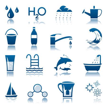 Water icon set Illustration