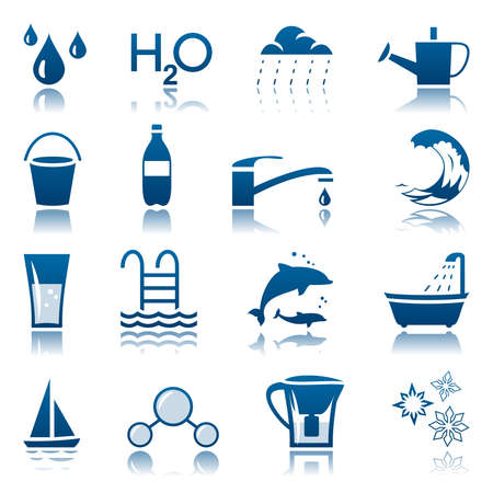 blue icon: Water icon set Illustration