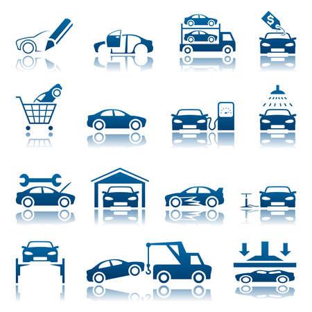 silhouette voiture: Jeu d'icônes de l'automobile