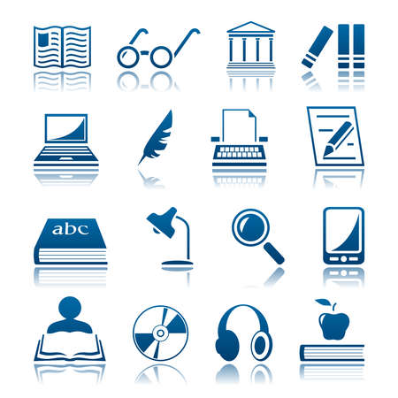 Book writing and reading icon set Vector