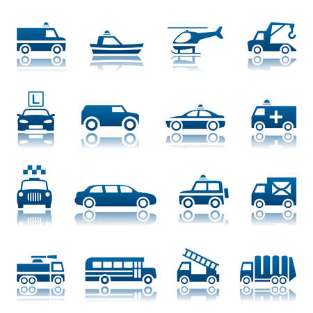 in emergency: El transporte especial conjunto de iconos Vectores