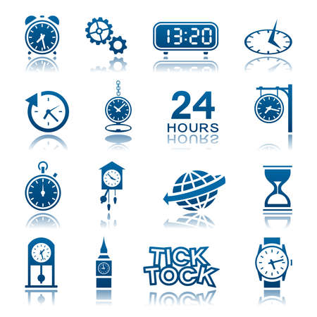 tock illustration: Clocks and watches icon set