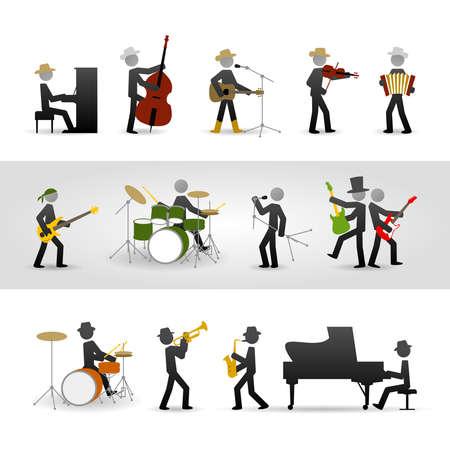 acordeon: País, rock y jazz band Vectores