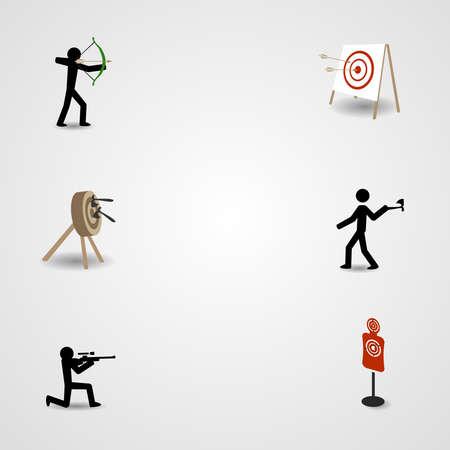 lanzamiento de bala: Disparo, tiro con arco y lanzamiento de hachas Vectores