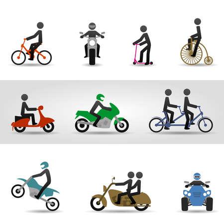 casco moto: Bicicletas y motos Vectores