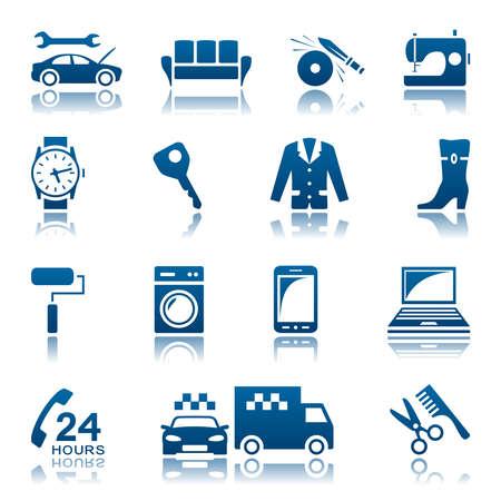 Service and repair icon set Illustration