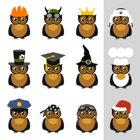 illusionist: Owls with hat, helmet, cap, bandanna and crown