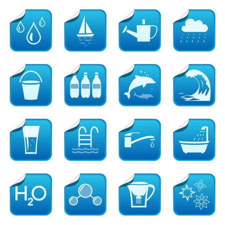 drop of water: Water stickers Illustration