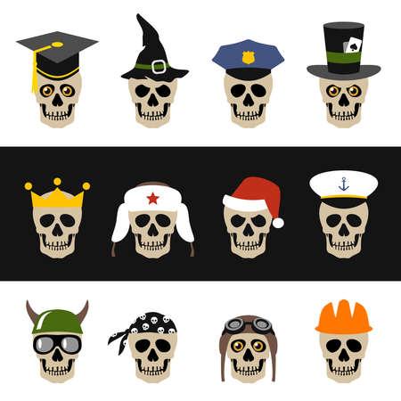 Skulls with hat, helmet, cap, bandanna and crown Vector