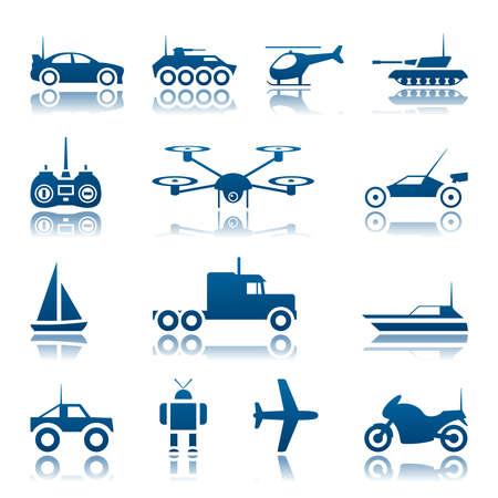 aereo: Giocattoli di controllo remoto icon set