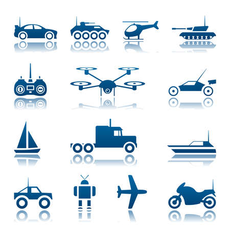 remote controlled: Remote control toys icon set