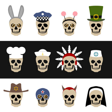 Skulls with hats and caps Vector