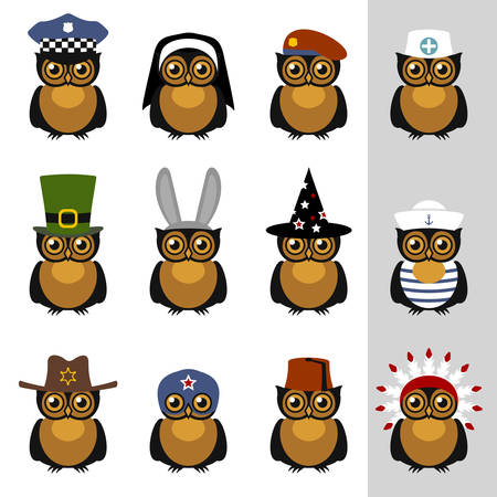 animal doctor: Owls with hats and caps