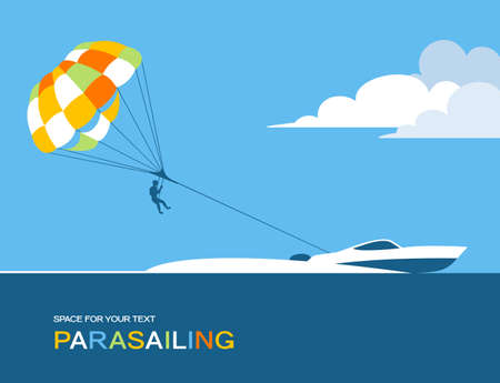 Man parasailing with parachute behind the motor boat Stock Illustratie