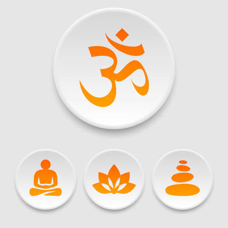 meditation stones: Yoga and meditation icons Illustration