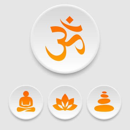 piedras zen: Yoga y meditación iconos Vectores