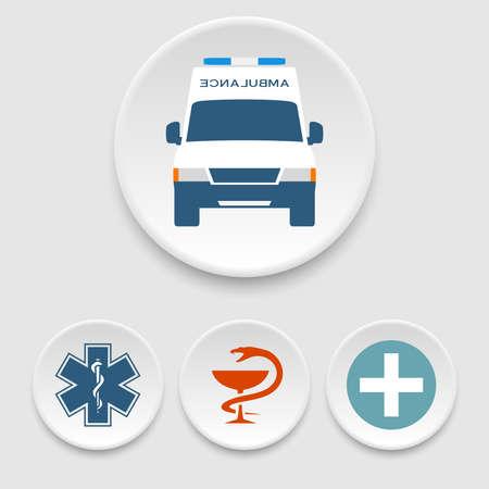 ambulancia: Coche de la ambulancia y los iconos de médicos
