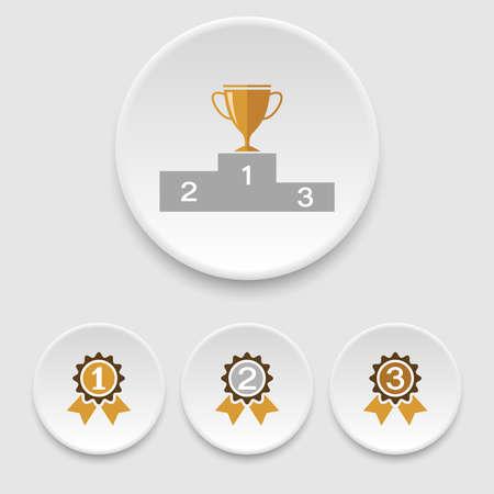 Winner podium, champion cup and awards icons Illustration