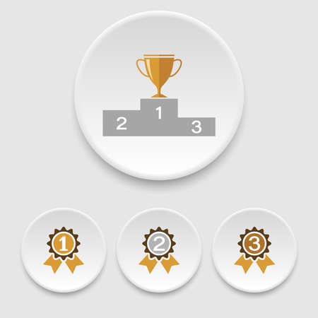 clipart podium: Winner podium, champion cup and awards icons Illustration