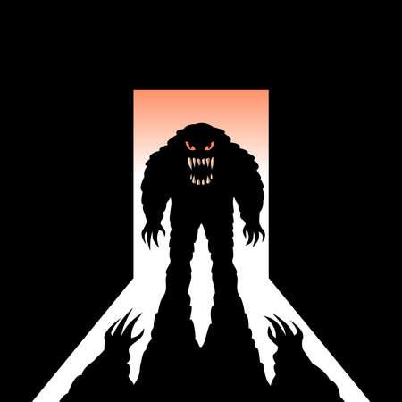horrific: Monster with shadow in the open door