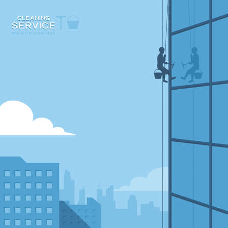 cleaning windows: Cleaning windows on skyscraper
