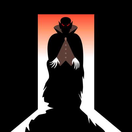 mystical: Vampire with shadow in the open door