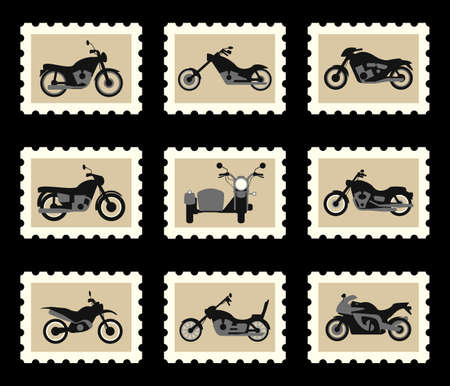 philately: Motorbikes chopper motocross and motorcycle with sidecar