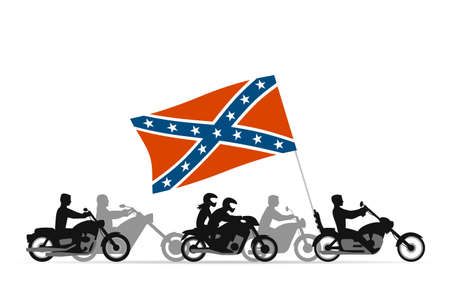 rebel flag: Bikers on motorcycles with confederate rebel flag