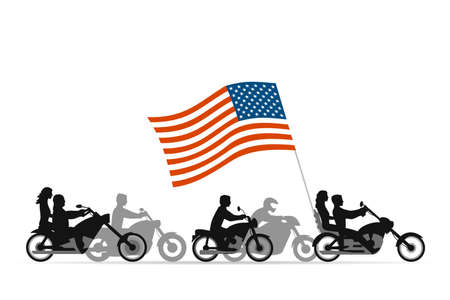 motorbike: Bikers on motorcycles with usa flag Illustration