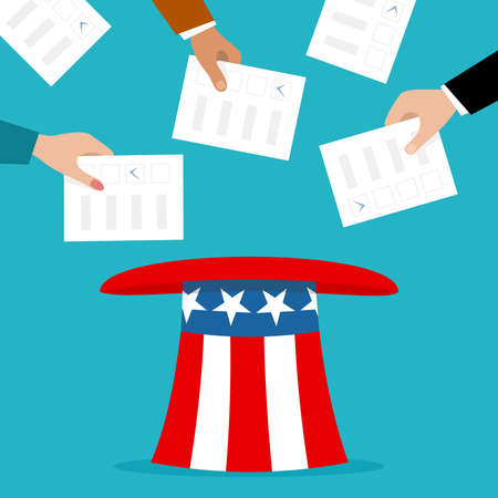Voters putting election bulletins in the uncle sam hat