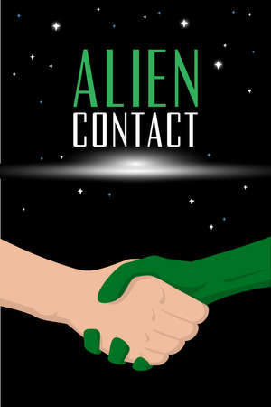 comix: Man handshake with alien. Fantastic book brochure cover template
