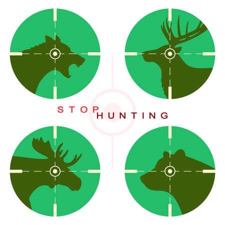 manifest: Wolf, deer, moose and bear in optical sight Illustration