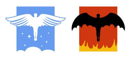 protestantism: Angel and devil icons Illustration