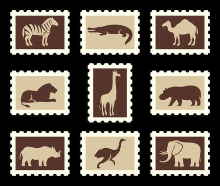 camel post: African animals set Illustration