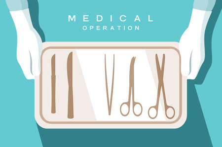 charolas: Assistant of the surgeon holds surgical instruments