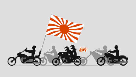 parade: Japanese bikers with flag of rising sun