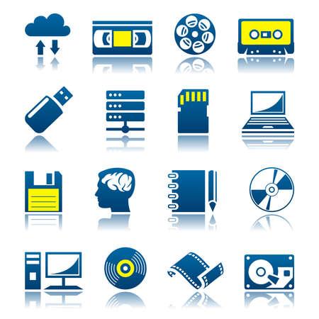videocassette: Conjunto de iconos de almacenamiento de datos Vectores