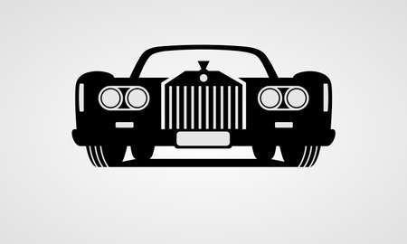 Generic retro car front view Illustration