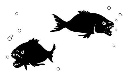 Piranha silhouettes