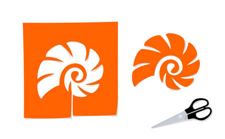 Scissors and the silhouette of cockle shell cut out from paper Illustration