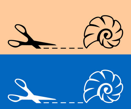 Scissors with cut line and cockle shell icon Illustration