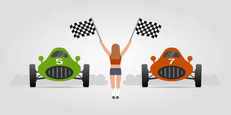 Retro racing cars and girl with race flags
