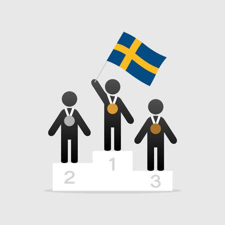 Champion with sweden flag Illustration